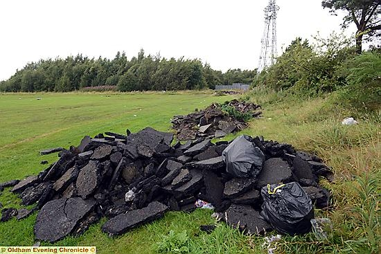 Mess left by travellers after leaving their site on Oldham Edge