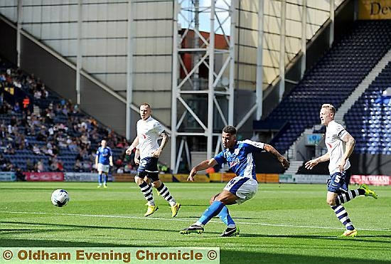 ATHLETIC forward Jonson Clarke-Harris tries to find a way through to the Preston goal.