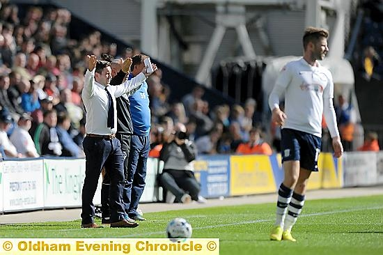 ATHLETIC boss Lee Johnson tries to get his point across at Deepdale on Saturday.