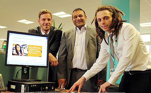 Oldham Council�s Jonathan Phillips, Councillor Shoab Akhtar and work placement trainee Ryan Stanton, who is a trainee events coordinator at Oldham Civic Centre