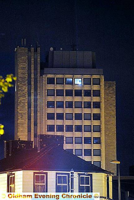 A single light on the 14-floor at the Civic Centre