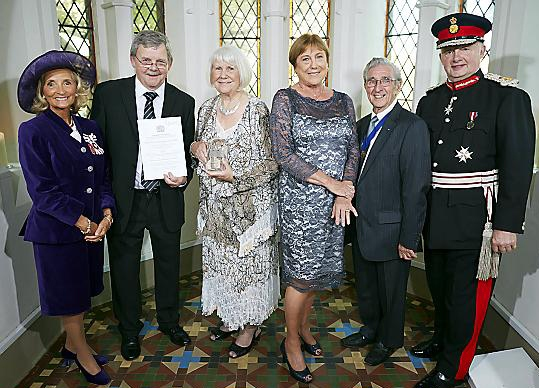 Greater Manchester Lieutenancy presentation to winners of The Queens Award for Voluntary Service 2014 at Gorton 'The Monastery'. Vice Lord-Lieutenant of Greater Manchester, Mrs Edith Conn; Bill Barlow, Marjorie Gratton, Maggie Holmes and Alan Griffiths from Oldham Bereavement Support Service and Her Majesty�s Lord-Lieutenant of Greater Manchester, Warren Smith.