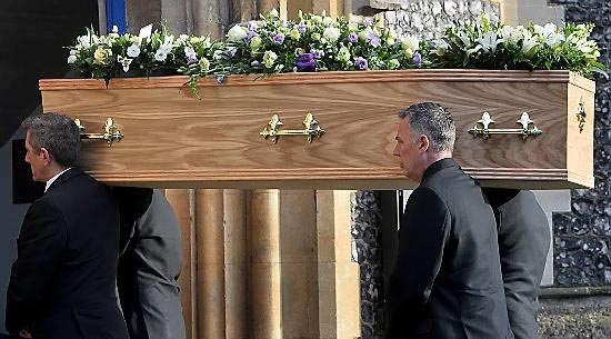 The coffin of former Labour MP Michael Meacher is carried into St Mary's Church in Wimbledon, London, ahead of his funeral.