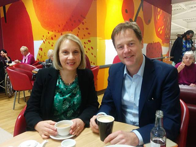Jane Brophy and Nick Clegg in Oldham