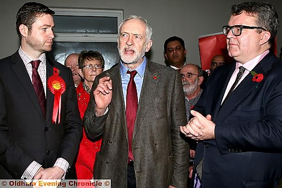 By-election candidate Jim McMahon with Labour leader Jeremy Corbyn in Oldham