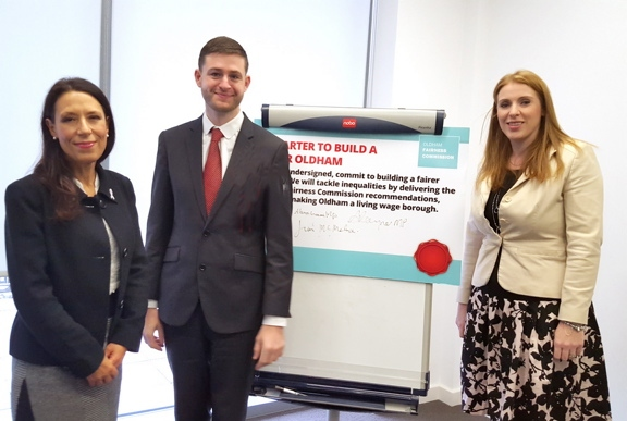 WORKING for a fairer Oldham . . . Jim McMahon joins local MPs Debbie Abrahams (left) and Angela Rayner in signing pledge for Fairer Oldham