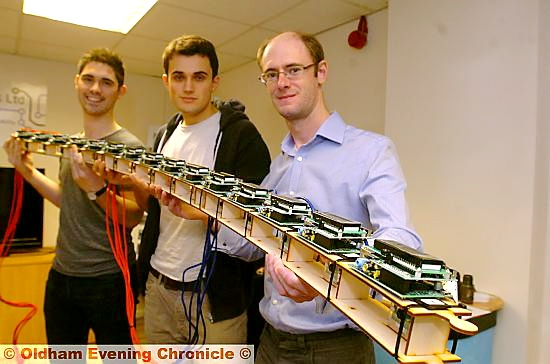 Andrew Robinson (right) and colleagues with a special effects rig.