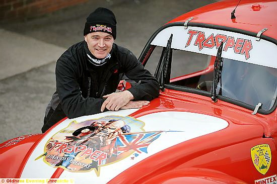 PAUL Wighton with the Volkswagen Beetle decorated in the Iron Maiden Trooper logo after the band's frontman sponsored the team.