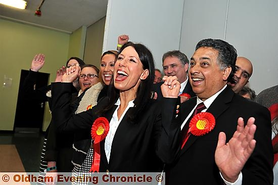 THAT winning feeling . . . Debbie Abrahams celebrates holding the Oldham East and Saddleworth seat for Labour.