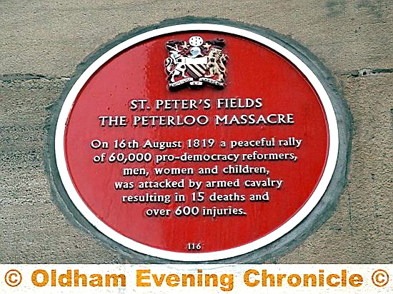 The Peterloo massacre plaque in central Manchester