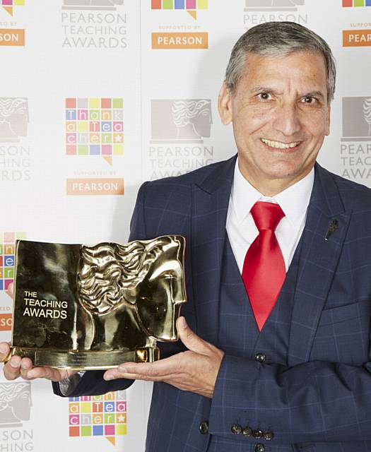 TOP MARKS . . . Hardial Hayer, from Radclyffe School, won Headteacher of the Year