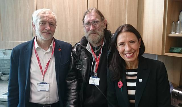 GUEST speaker Paul Rutherford (centre) with Jeremy Corbyn and Debbie Abrahams