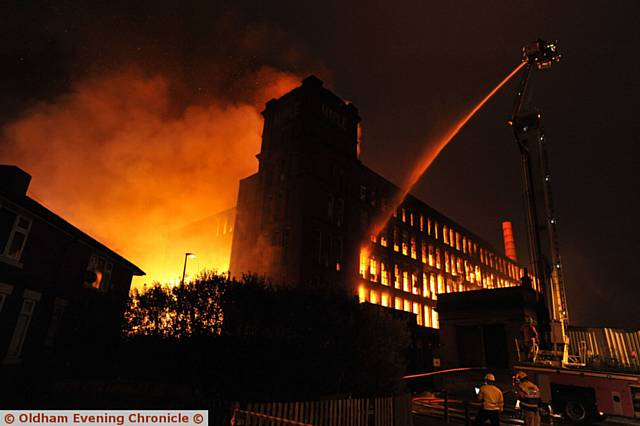 AT its height - the fire at Maple Mill, Hathershaw