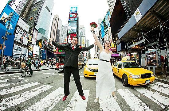 GLOBE-TROTTERS . . . Nic and Paul Short after their wedding in New York