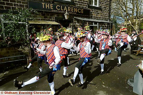 Saddleworth Morris Men start their Good Friday tour at the Clarence, Greenfield.