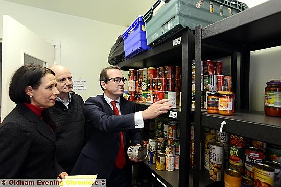 Shadow Secretary of State for Work and Pensions Owen Smith and Debbie Abrahams discuss Universal Credit at Oldham Foodbank. Also pictured is Foodbank's Andrew Barr