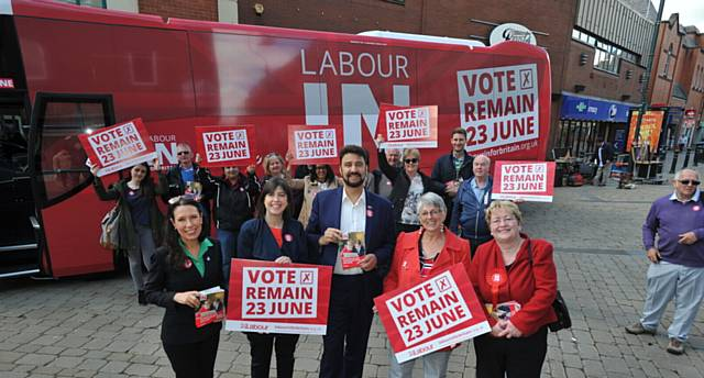 Labour battle bus to stay IN Europe arrives in Oldham. PIC (front) L-R: Debbie Abrahams MP, Lucy Powell MP, Afzal Khan MEP, Julie Ward MEP and Cllr Jean Stretton (OMBC Leader). Other councillors and supporters behind.