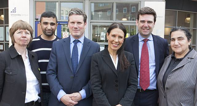 LET'S TALK IMMIGRATION . . . Katherine Griffiths, director of HE at UCO, Councillor Shaid Mushtaq, chair of UCO, Sir Keir Starmer, MP, Debbie Abrahams, Andy Burnham, Marzia Babakarkhail.