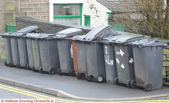 ALL piled up . . . rubbish bins could be emptied once every three weeks