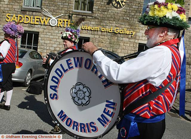 Saddleworth Museum, Uppermill, Oldham, reopens. Pic shows, the Saddleworth Morris Men dancing outside the museum before the opening.
