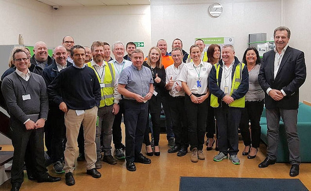 Armacell CEO Patrick Mathieu (right) with members of Oldham WAM team