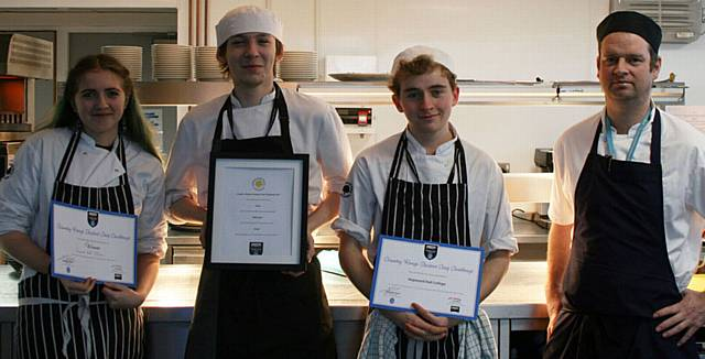 WINNERS . . . (L-R) Hopwood Hall College students Lucinda Lageard, Kyle Rosebury and Marcus Carter-Strutt with Sam Everett, Riverside Restaurant head chef