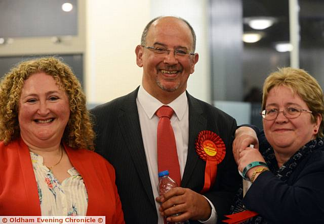 FAILSWORTH East by-election winner, Labour's Paul Jean Jacques with his wife Elizabeth Jacques (left) and Oldham Council leader Jean Stretton