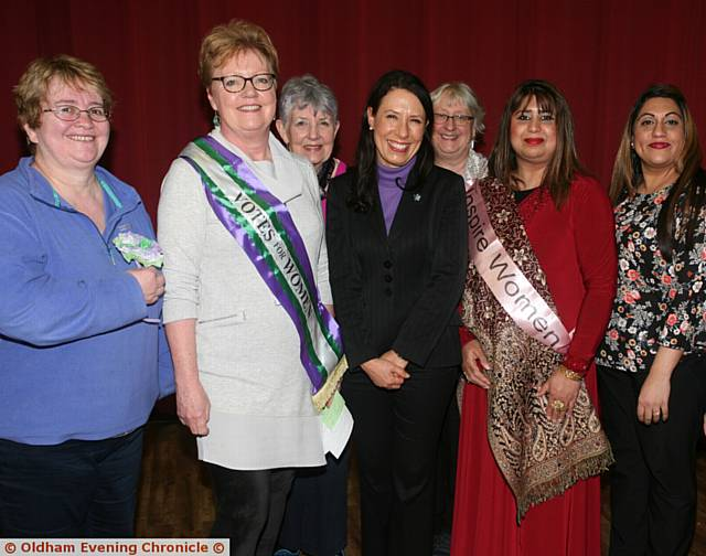 WOMEN united . . . At Saturday's event are, from left, Councillor, Jean Stretton, Oldham Council leader, Councillor Jenny Harrison, Councillor Susan Dearden, Oldham East and Saddleworth MP Debbie Abrahams, Councillor Hanna Roberts, author Carol Talbot, Councillor Yasmin Tor and Umar Nasheen.