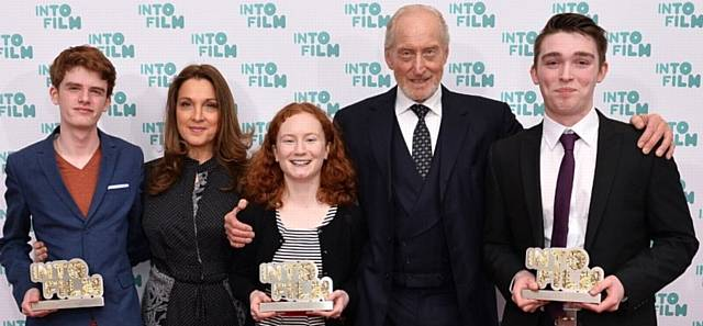 Nick Connor (right) with Charles Dance and James Bond producer Barbara Broccoli and the two other 'Ones to Watch' winners, Kerri Donohoe and Dylan Starr-Adams at the INTO film awards