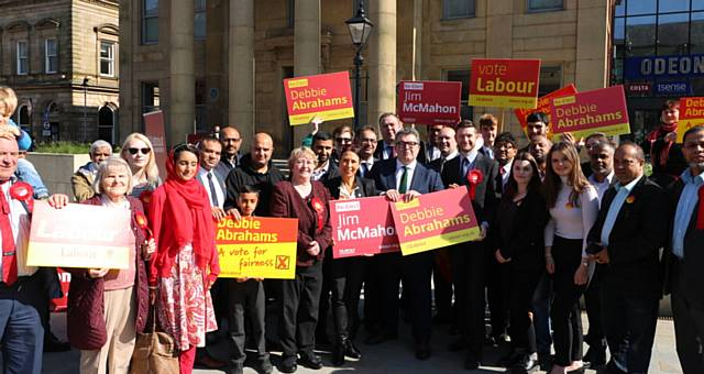 Tom Watson visting Labour candidates Debbie Abrahams and Jim McMahon in Oldham