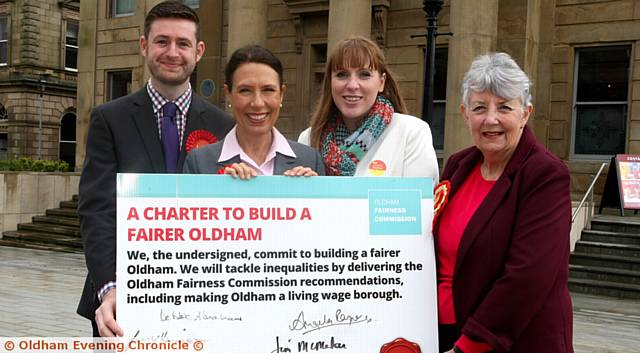CHARTER support . . . Jim McMahon, Debbie Abrahams, Angela Rayner and Jenny Harrison