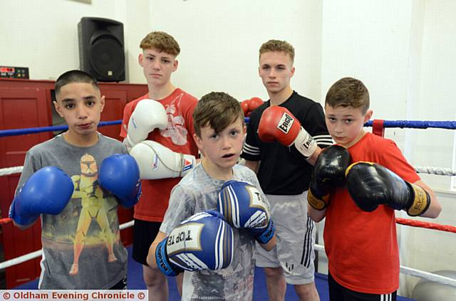 YOUNG HOT-SHOTS . . . Michael Rattigan (front, centre) is flanked by Abdul Khan (left), Kyle Tullin, Jaden Landregan and Lucas McLoughlin from the Oldham Boxing and Personal Development Centre