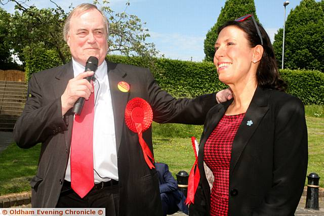 RIGHT MIX . . .John Prescott in Shaw with Labour candidate Debbie Abrahams.