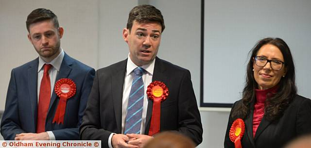 LABOUR Parliamentary candidates Jim McMahon (left) and Debbie Abrahams with elected Greater Manchester Mayor Andy Burnham