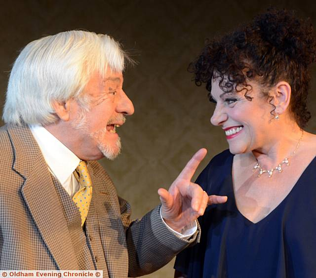 LIGHT MOMENT . . . Kenneth Alan Taylor and Kerry Peer in the Colisum's latest production 'The Father'.