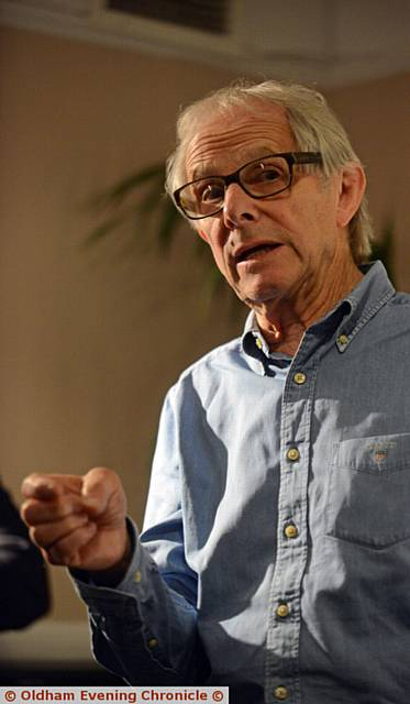 IN FULL FLOW . . . Ken Loach (pictured) makes his point.