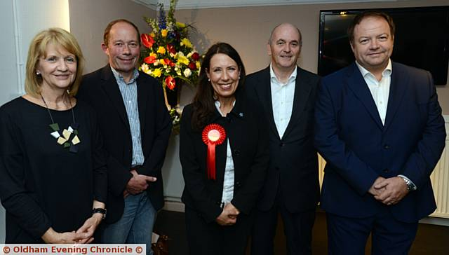 LEFT to right, Baroness Beverly Hughes (deputy Mayor of Greater Manchester), Kevin Shaw (chief executive and artistic director Coliseum), Debbie Abrahams, speakers Steve Sutherland (Dortech), Ian Taylor (Team Spirit)