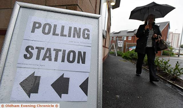 General election day. Polling station at Crossley Centre, Chadderton