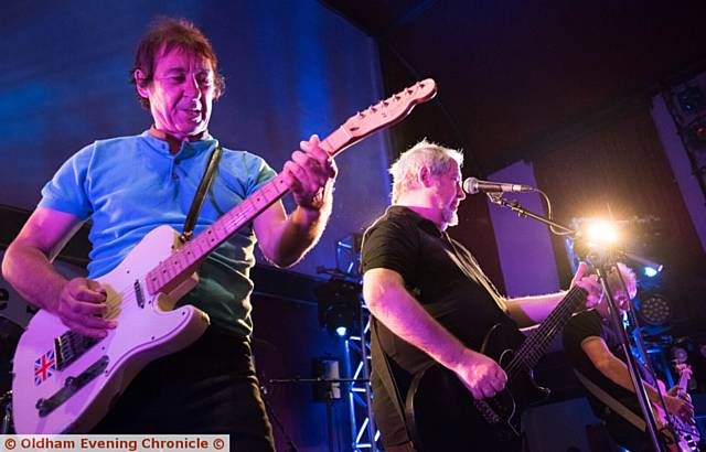 Buzzcocks play live at Uppermill Civic Hall. PIC shows L-R: Steve Diggle and Pete Shelley.