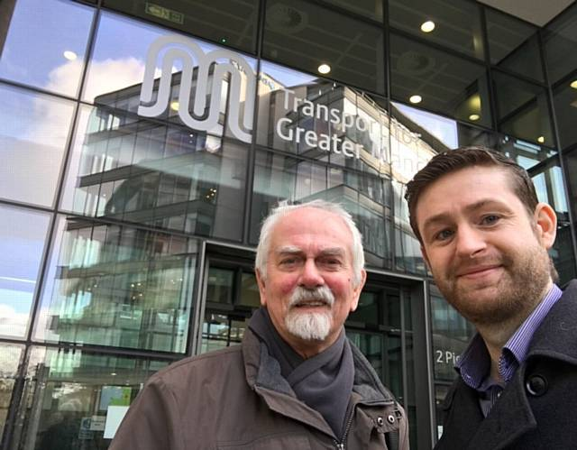 MP Jim McMahon (right) with Chadderton councillor Colin McLaren outside Transport for Greater Manchester offices