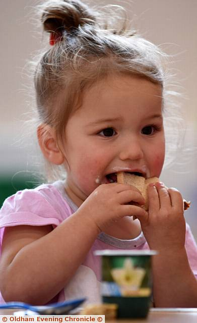 BITE-SIZE . . . Layla Russell enjoying her breakfast