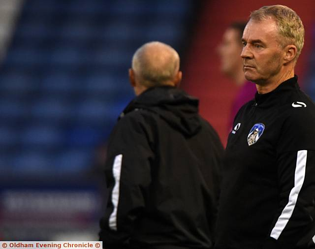 FITNESS CONCERNS . . . Athletic boss John Sheridan cuts a frustrated figure during last night's Checkatrade Trophy game against Port Vale