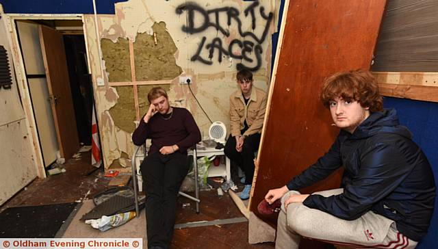 GUTTED . . . Luke Dec, Tom Edwards and Jacob Simpson, of the band Dirty Laces, in their now empty studio