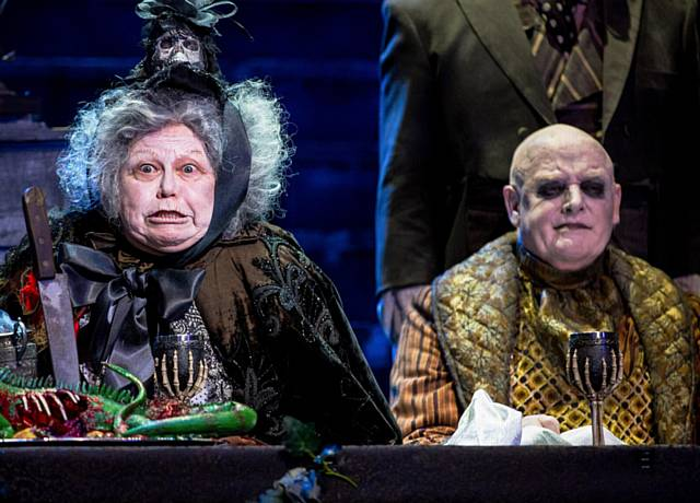 GRUESOME TWOSOME . . Valda Aviks as Grandma Addams and Les Dennis as Uncle Fester.
