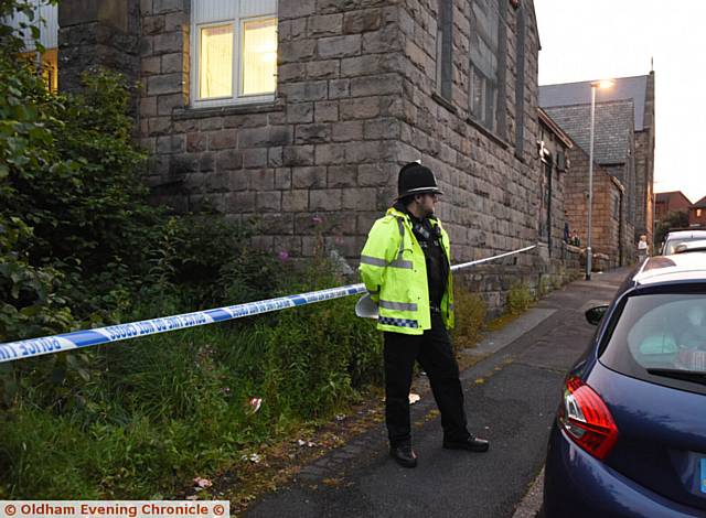CRIME scenes . . . Police stationed next to Higginshaw ARLFC