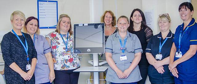 READY to use the new heart monitoring system, from left , Deborah Carter, Wendy Knight, Lorraine Brady, Caroline Rice, Priscilla Poole, Lindsey Oliver, Belinda Jackson and Helen Howard