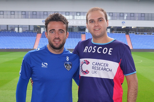 Well done, sir: Sam Rosbottom pictured with Athletic striker Jose Baxter