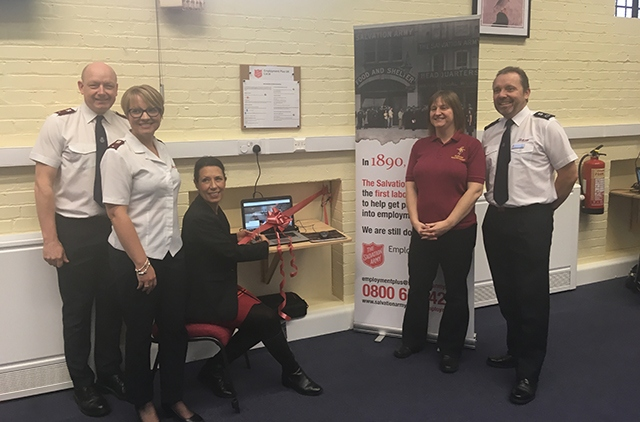 Pictured (left to right) are: left to right: Lieutenants Jonathan and Sarah Pitts, Debbie Abrahams MP, Lisa Woolfenden Community Ministry Secretary, David Rowlanes Mission Development Manager
