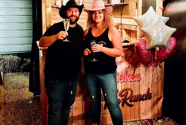 Rachel Walker and Mark Fairley are pictured at the launch of the Old School BBQ Bus and Corner House Cakes link-up