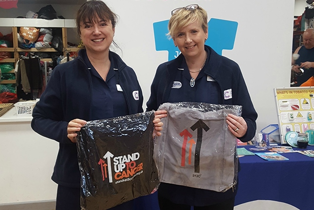 CRUK nurses Helen Higham and Louise Dewhurst support Stand Up To Cancer